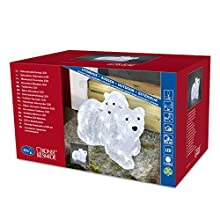 "Konstsmide Outdoor Lights LED Acrylic Decoration ""Polar Bear and Baby Bear"" / Christmas Lights Outdoor (IP44) / 48 Ice White LEDs / Transparent Cable"