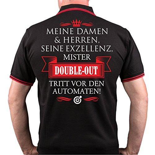 Männer und Herren POLO Shirt Seine Exzellenz DER DARTER (mit Rückendruck) Schwarz/Rot