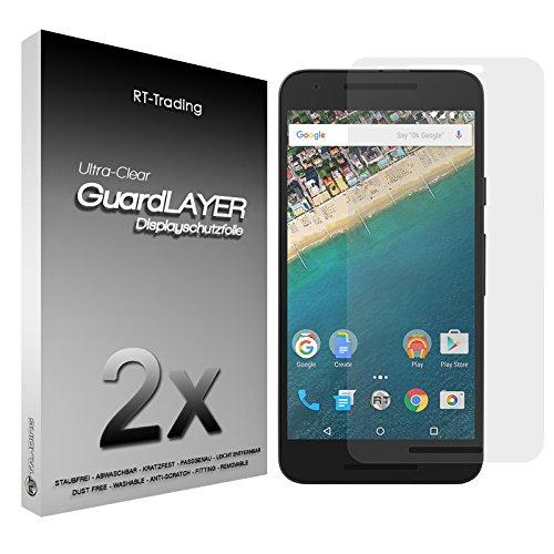 2x LG Google Nexus 5X - Bildschirm Schutzfolie Klar Folie Schutz Bildschirm Screen Protector Bildschirmfolie - RT-Trading