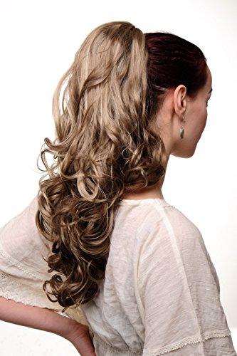 Wig me up ® - toupet coda di cavallo grossa clip castano chiaro biondo mèches ondulati punte ricce voluminosi molto lunghi 55 cm tyq2169-14-26