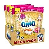 Omo Lessive Capsules 2 en 1 Essence de Fleurs d'Orient 90 Lavages (Lot de 3x30...