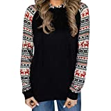TianWlio Damen Hoodie Mode Frauen Weihnachten Druck Langarm Kapuzenpullover Pullover Bluse