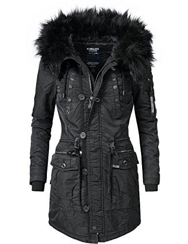 Khujo Damen Mantel Wintermantel Winterparka YM-Halle (vegan hergestellt) Schwarz Gr. L (Mantel Damen Wintermantel)