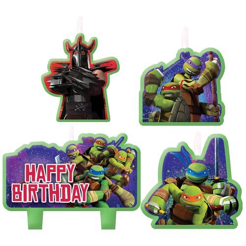 Teenage Mutant Ninja Turtles Birthday Candles - Birthday and Theme Party Supplies - 4 Per Pack by SmileMakers - Pack Party Ninja Turtle