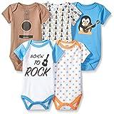 Luvable Friends Baby-Boys Unisex-Baby Cotton Bodysuits, 5 Pack Short Sleeve Shirt - Blue