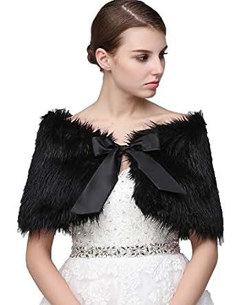 Clearbridal Women's Black Faux Fur Wrap Cape Stole Shawl Bolero Jacket Coat Shrug For Wedding Dress with Bows 17001