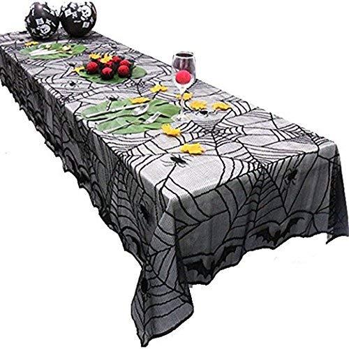 Zoopwon Halloween-Tischdecke/Kaminüberzug, Spitze, Spinnennetz, für Festliche Halloween-Partys, Dekoration Tablecloth a