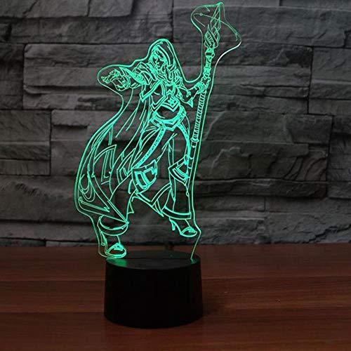 ZNNYE 3D Visuelle Led Krieger Mädchen Nachtlichter Usb Schlafzimmer Bücherregal Spielfigur Tischlampe Wohnkultur 7 Farben Schlaf Beleuchtung Kinder Geschenke
