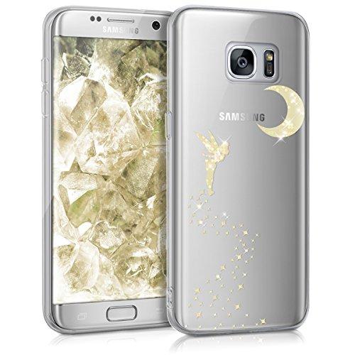 kwmobile Funda para Samsung Galaxy S7 edge - Case para móvil en TPU silicona - Cover trasero Diseño Hada Brillo en oro transparente