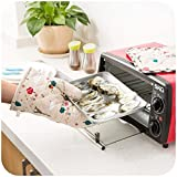 #7: ShoppoWorld Microwave Oven Pot Holder Thermal Pad & Heat Proof Hand Gloves Kitchen Safety Utility For Baking BBQ (Random Design / Color)