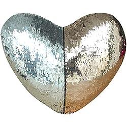 """drcosy sirena funda de almohada con Insert 13""""x15"""" forma de corazón mágico Reversible lentejuelas Cojín"""