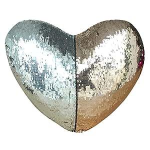 Drcosy, cuscino sirenetta con imbottitura, a forma di cuore con paillette per la decorazione della casa (35x 40cm) Silver/Champagne