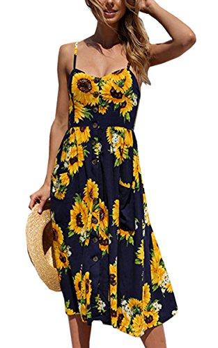 Angashion Damen V Ausschnitt Spaghetti Buegel Blumen Sommerkleid Elegant Vintage Cocktailkleid Kleider, Größe: XXL, Farbe: Navy Blau -