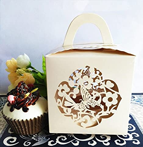 KAZIPA 12Stk Kuchenboxen, Laserschnitt Schmetterling Single Cupcake Box f¨¹r Hochzeitstorte, Muffins, (Single Cupcake Box)
