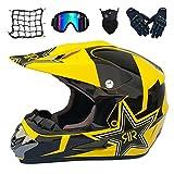 MRDEAR Motorradhelm Motocross Helm, MR-057 Motorrad Crosshelm Schwarz Gelb/Rockstar, Fullface MTB...