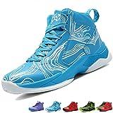 LANSEYAOJI Niños Zapatillas de Baloncesto High-Top Al Aire Libre Calzado Deportivo Moda Lace Up Sneaker Ligeros Zapatos para Correr Antideslizante Zapatillas de Deporte Transpirable,Púrpura,EU31