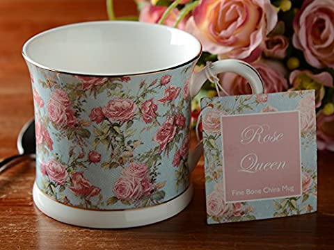 Set of 2 ROSE QUEEN Fine Bone China FOOTED PALACE MUGS