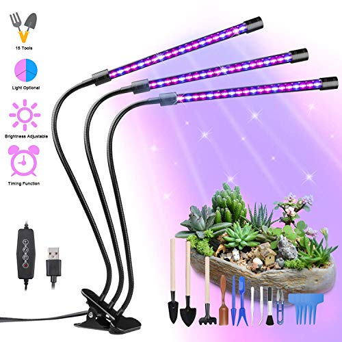 Yokunat Lampe de Plante 60 LED 27W Lampe de Croissance à 3 Têtes 360° Éclairage Horticole avec 15 Outils de Jardinage, 3 Modes de Luminosité, 5 Niveaux Dimmables et 3 Modes de Minuterie (3/6/12H)