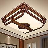DENGJU LED antike chinesische quadratische Bücherregal Wohnzimmer Schlafzimmer Study Relief Holz Deckenleuchte (mit Lichtquelle) (größe : 69 * 69)