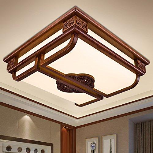 LED antike chinesische quadratische Bücherregal Wohnzimmer Schlafzimmer Study Relief Holz Deckenleuchte (mit Lichtquelle) ( größe : 69*69 ) (Wohnzimmer Bücherregal Schlafzimmer)