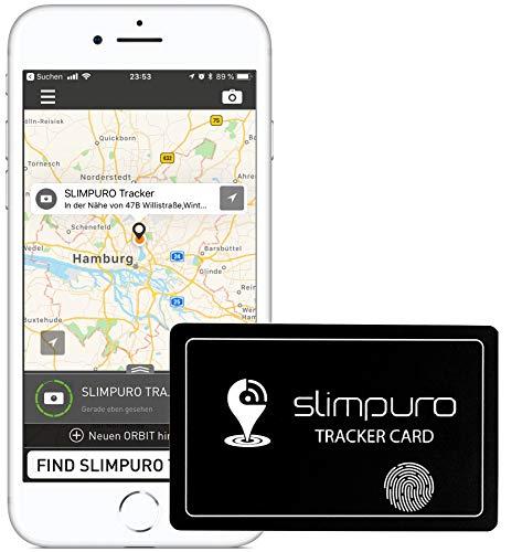 SLIMPURO Tracker Karte mit Bluetooth - Geldbörse Finder, Sucher - Handy Finder - GPS Ortung/Kopplung - Wiederaufladbar - Selfie Funktion - 1,2mm dünn - Brieftaschenfinder - App iOS/Android Funk-gps-modul