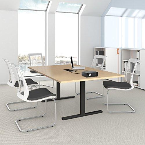 EASY Konferenztisch 200x120cm Eiche mit Elektrifizierung Besprechungs-Tisch