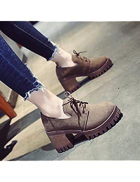 KPHY-El otoño de Nueva Inglaterra Retro pequeños zapatos de cuero de la versión coreana de hembras silvestres...