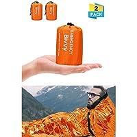 Charminer Emergency Sleeping Bag,Survival Sleeping Bag PE Aluminum Film, Bivvy Bag Lightweight Reflective Lining Interior, thermal for Music Festivals/Outdoor Camping/Hiking(Orange)