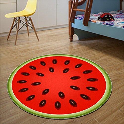 Edge to Teppiche und Decken Kreative Wassermelone-runde Wolldecken, Wohnzimmer-Nachttische Wiegen-Kissen weiche Teppich-Wolldecke-Matten, Teppich ( größe : Diameter 100cm ) (Kreative Wassermelone)