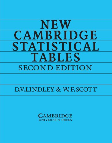New Cambridge Statistical Tables 2nd Edition Paperback por Lindley
