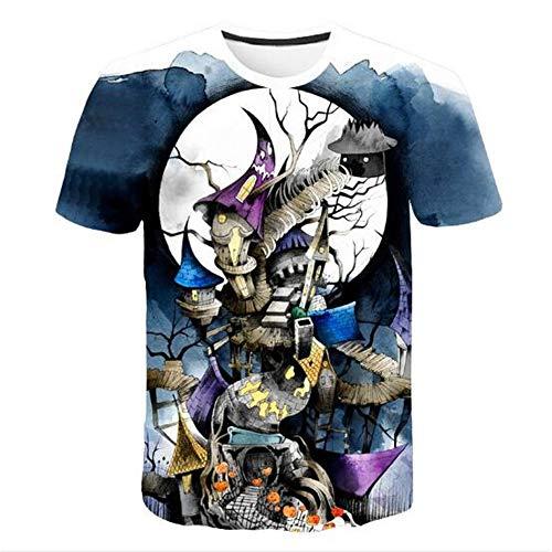 Männer Frühling Sommer Männer T-Shirts 3D Gedruckt Tier t-Shirt Kurzarm Lustige Design Casual Tops Tees Männlich,Halloween Cottage Blau L (Halloween-t-shirt Brown Charlie)