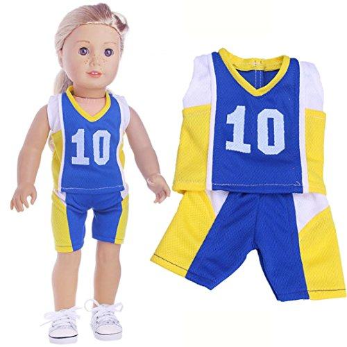 HKFV Vêtements et pantalons de haute qualité pour 18 pouces Notre poupée American Girl de génération Mädchenpuppe Kleidung Anzug 2 Teile / satz 18 zoll Puppen Kleidung (D)