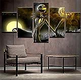 XLST Leinwand Wandkunst Bilder Rahmen Wohnkultur Wohnzimmer Halloween Poster 5 Stücke HD Gedruckt Nightmare Before Christmas Painting,B,30x40x2+30x60x2+30x80x1