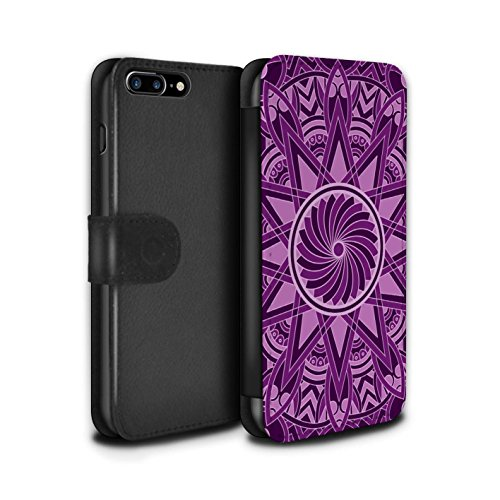 STUFF4 PU-Leder Hülle/Case/Tasche/Cover für Apple iPhone 7 Plus / Pack 15pcs Muster / Mandala Kunst Kollektion Sterne/Lila
