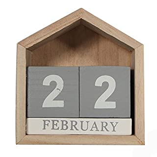 TOOGOO Vintage Design House Shape Perpetual Calendar Wood Desk Wooden Block Home Office Supplies Decoration Artcraft
