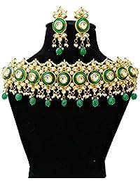 Finekraft Meena Kundan ,Pearls And Pearls Jewellery Set For Women - Green