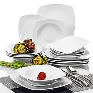 Malacasa serie julia servizio da tavola stoviglie in porcellana 18 pezzi con 6 piatti piatti - Piatti da cucina moderni ...