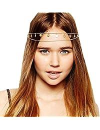 gracewedding Mujer Fashion cabezal de metal cadena joyería diadema para la cabeza pelo banda
