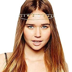 Gracewedding Damen Kopfschmuck/Haarkette, Metallkette für die Haare
