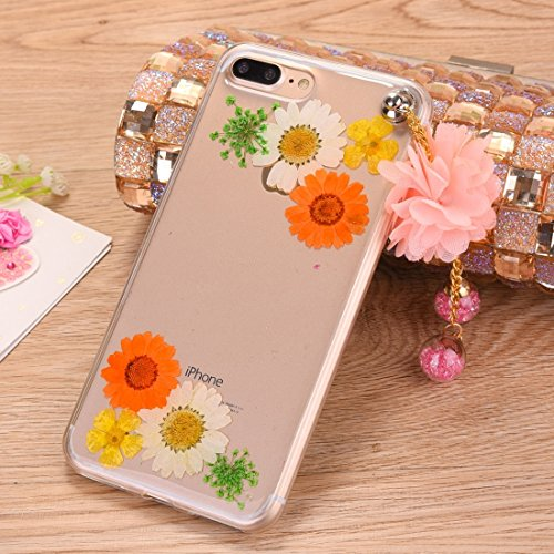 Pour iPhone 7 Plus Epoxy Dripping Pressed Real Dried Flower Housse de protection transparente TPU transparente avec pendentif de pêche JING ( SKU : Ip7p0995g ) Ip7p0995b
