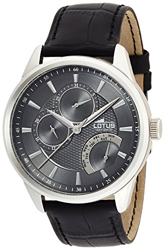 Lotus Men's Quartz Watch with Grey Dial Analogue Display and Black Leather Strap 15974/4