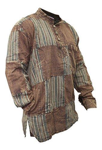 Herren Vintage Hippie Hemd (SHOPOHOLIC FASHION Herren Stonewashed Einfarbig Streifen Patch Hippie Hemd - Braun, Large)