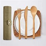 Wovemster Bambus Besteck Set   Natürliches Holzbesteck mit Tasche,1 Messer, 1 Gabel, 1 Löffel, Strohhalm,nachhaltig,wiederverwendbar Umweltfreundliches Outdoor Reisebesteck(A) - 5