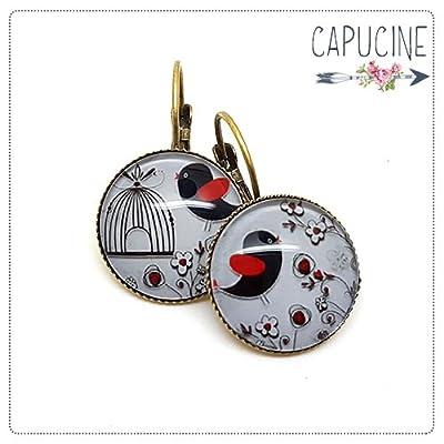 Boucles d'oreilles avec cabochon oiseaux et fleurs - Boucles d'oreilles dormeuses cage aux oiseaux - En Rouge & Noir