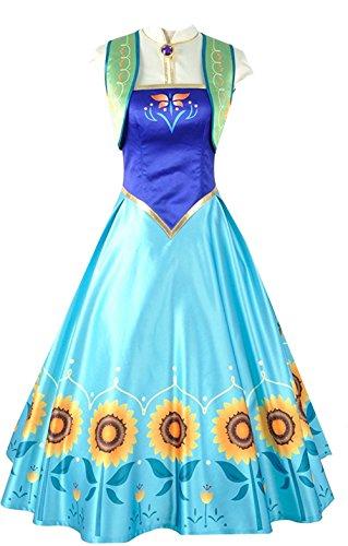 Kostüm Frozen Anna Fever - Snow Queen Princess Fever Anna Halloween Weihnachten Party Kleid Cosplay Kostüm für Erwachsene, Collegejacke, Blau