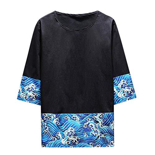 Crazboy Herren Baggy Carp Bedruckte Kurzarmblusen O Neck Streetwear T Shirts Tops(Schwarz-B,Schwarz-B)