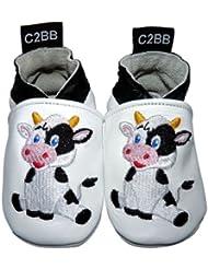 C2BB - Chaussons bebe cuir souple garçon   Vache