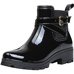 Botas de Agua Bota de Goma Mujer Impermeable lluvia Zapatos Tobillo Casual Calzado, Negro 39