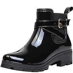 ukStore Damen Gummistiefel Regenstiefel Kurzschaft Stiefel Blockabsatz Chelsea Boots Rain Schuhe, Schwarz 41