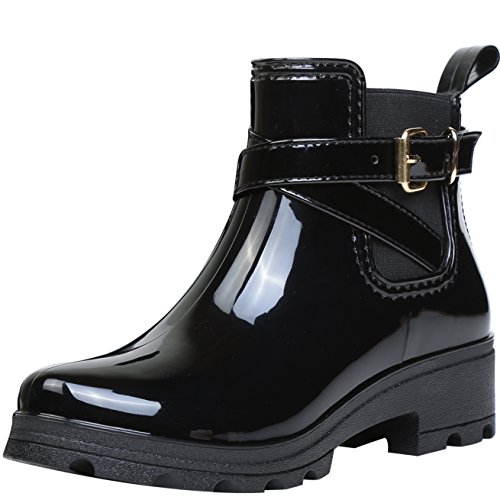 Women Wellington Boots Rubber Rain Boot Ankle Wellies Ladies Chelsea Shoes, Black...
